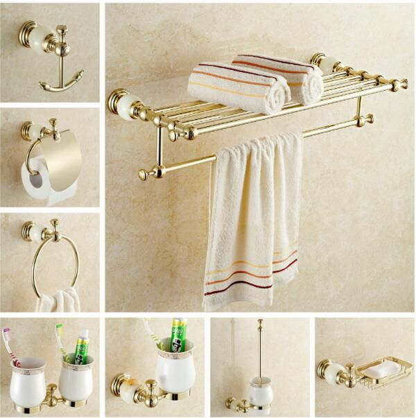 New brass and Jade Bathroom Accessories Set,Robe hook,Paper Holder,Towel Bar,Soap basket,towel rack,towel ring, bathroom sets