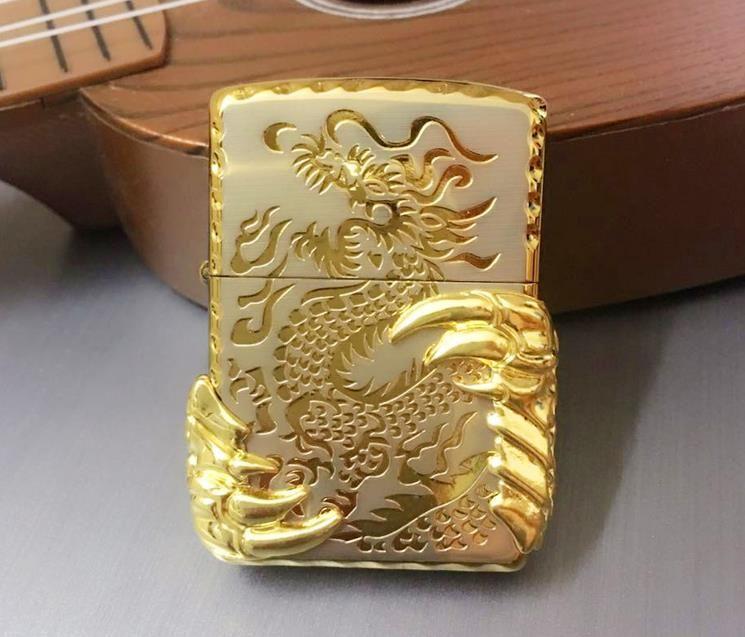 Livraison gratuite coupe-vent briquets deux golden dragon griffe
