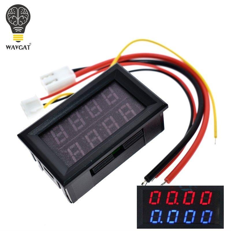 WAVGAT 0,28 zoll Digital DC Voltmeter Amperemeter 4 Bit 5 Drähte DC 200 v 10A Spannung Strom Meter Power Versorgung rot Blau Dual Display