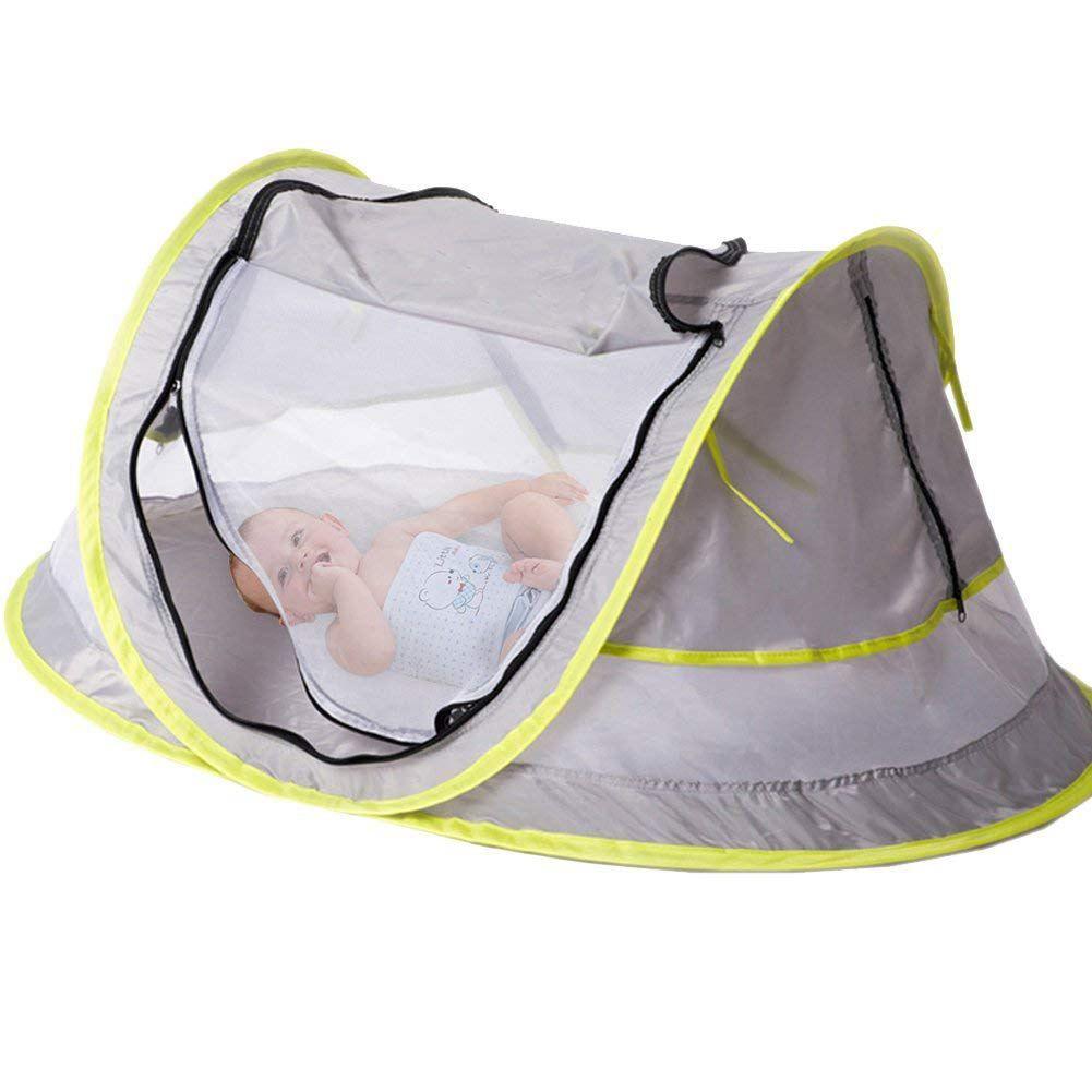 Lit de voyage pour bébé, tente de plage Portable pour bébé UPF 50 + abri solaire, tente de voyage pour bébé Pop Up moustiquaire et 2 chevilles, ultra-léger Wei