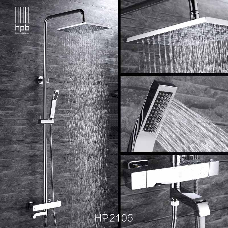 HPB Brass Thermostatic Bathroom Hot And Cold Water Mixer Bath Shower Set Faucet torneira banheiro  Shower Head HP2106