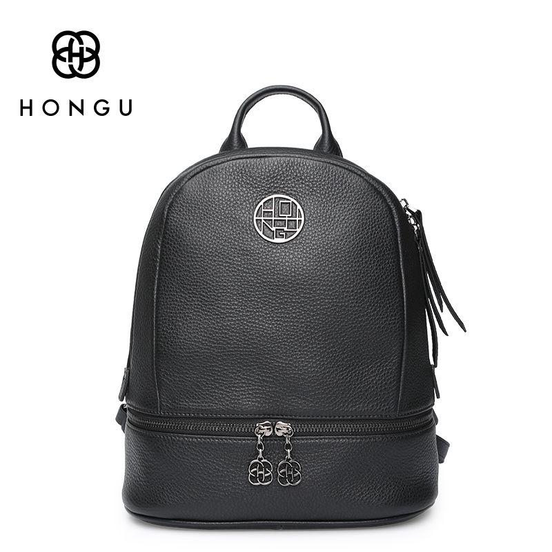 Hongu известный бренд дамы Крепкие Наплечные сумки Для женщин рюкзак на молнии из натуральной коровьей кожи Дорожные сумки Колледж девушка obag...
