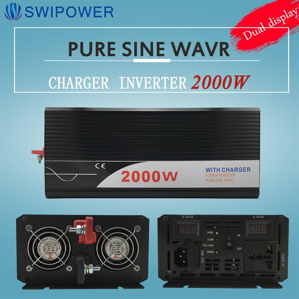 Ups inverter 2000 Watt reine sinus-wechselrichter mit ladegerät 12 V 24 V 48 v DC zu AC 220 V 230 V 240 v solar power wechselrichter