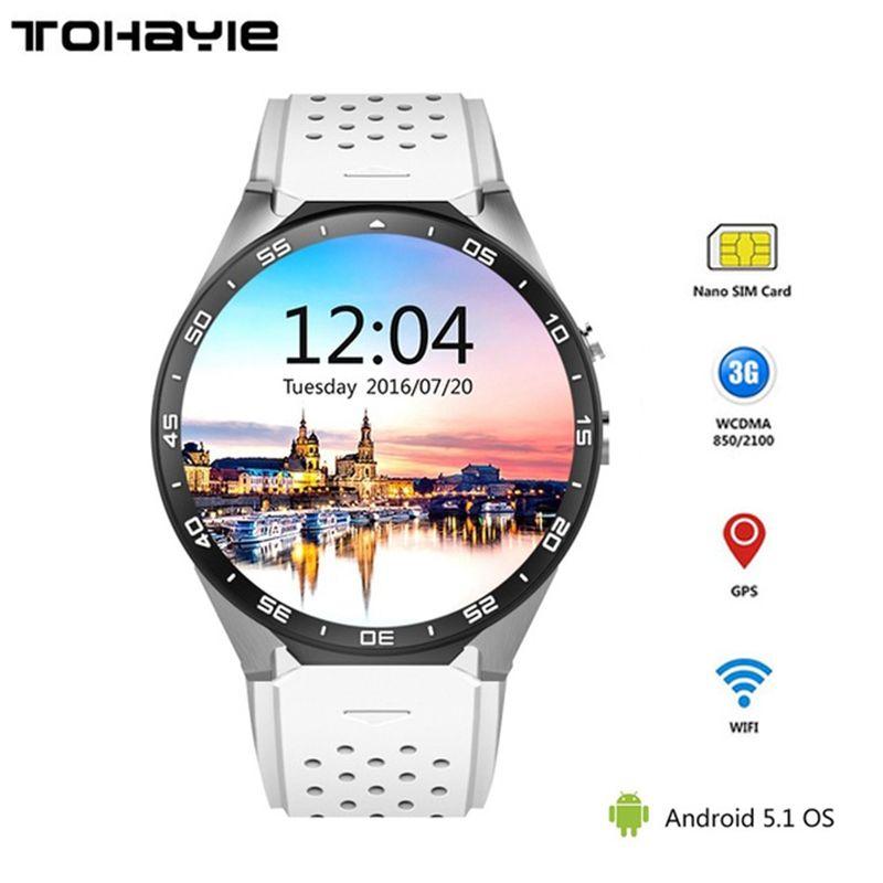ToHayie KW88 3G WIFI Smartwatch Téléphone portable Bluetooth Montre Smart Watch téléphone Android 5.1 SIM Carte Caméra Moniteur de Fréquence Cardiaque GPS montre