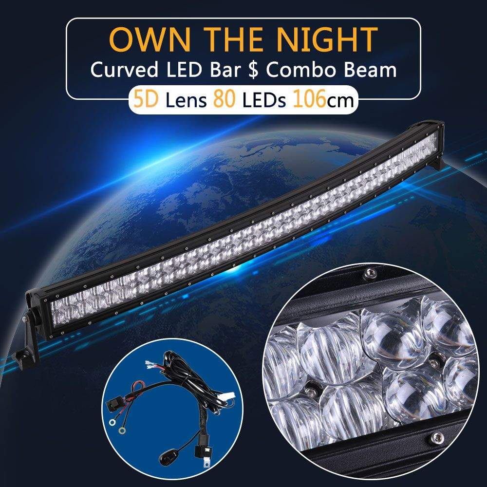 Real Power 5D 42 Inch Curved LED Light Bar with Wire Kit 12V 24V Combo Beam for Offroad Boat Car Truck ATV SUV 4WD 4x4 Work Lamp