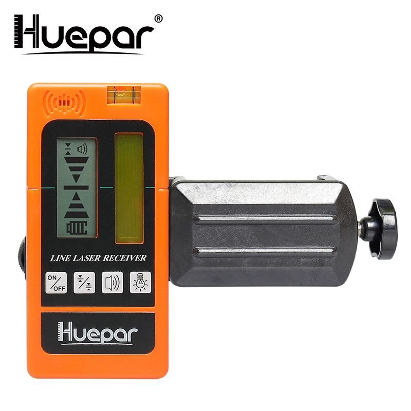 Huepar Digital LCD Laser Receiver Outdoor Mode Laser Detector Available For Pulsing Green Red Beam Cross Line Laser Level Clamp