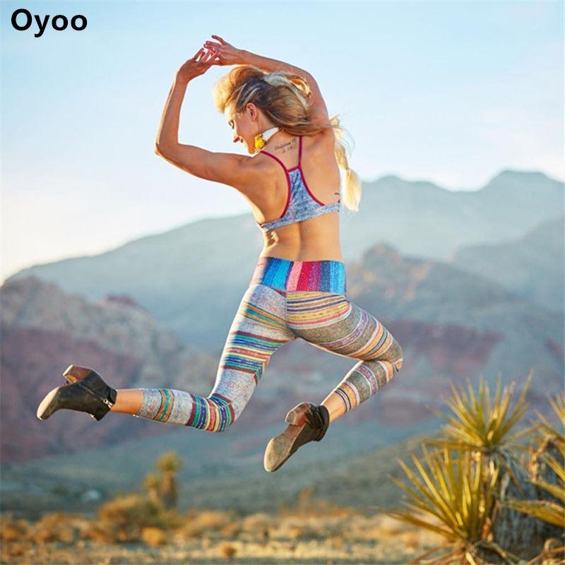 Oyoo Retro Mate líneas Pantalones de Entrenamiento para Correr Las Mujeres Rayas de Colores de Yoga Atlético Leggings Deportivos Femeninos Medias Traje Precioso