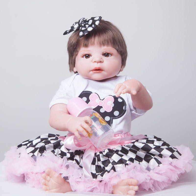 55 cm completo Cuerpo silicona renacido muñeca Juguetes realista jugar Casa de juguete bebé recién nacido Navidad cumpleaños regalo baño de juguete