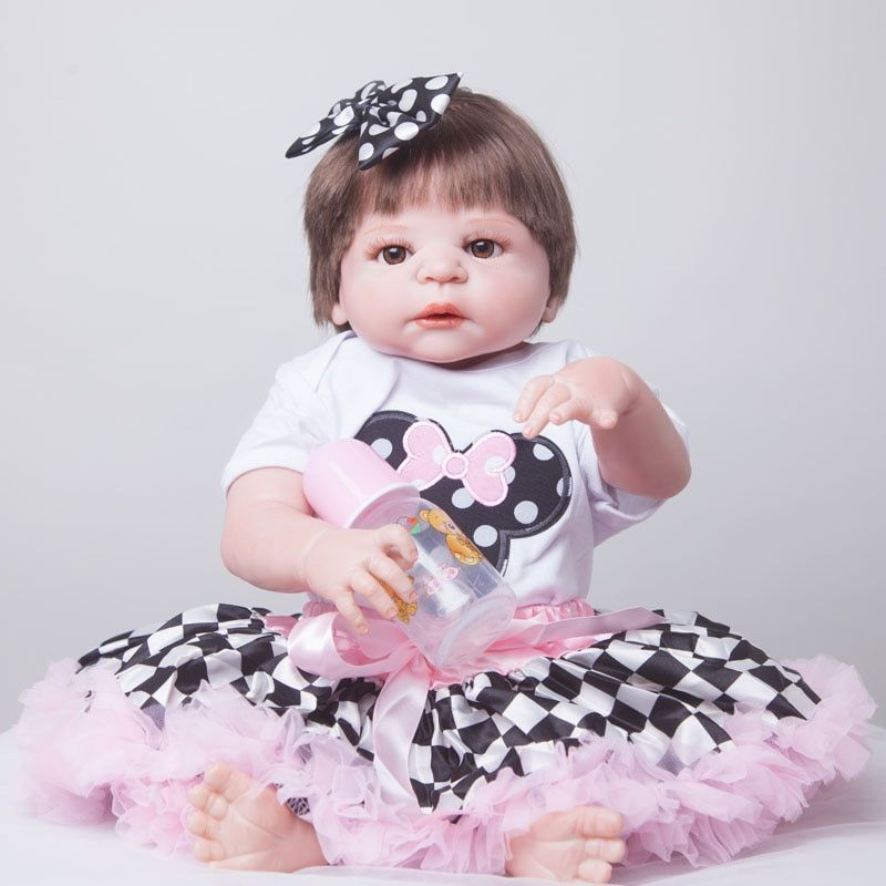 55cm Full Body Silicone Reborn Baby Doll Toys Lifelike Play House Toy Newborn Girl Baby Christmas Gift Birthday Gift Bathe Toy