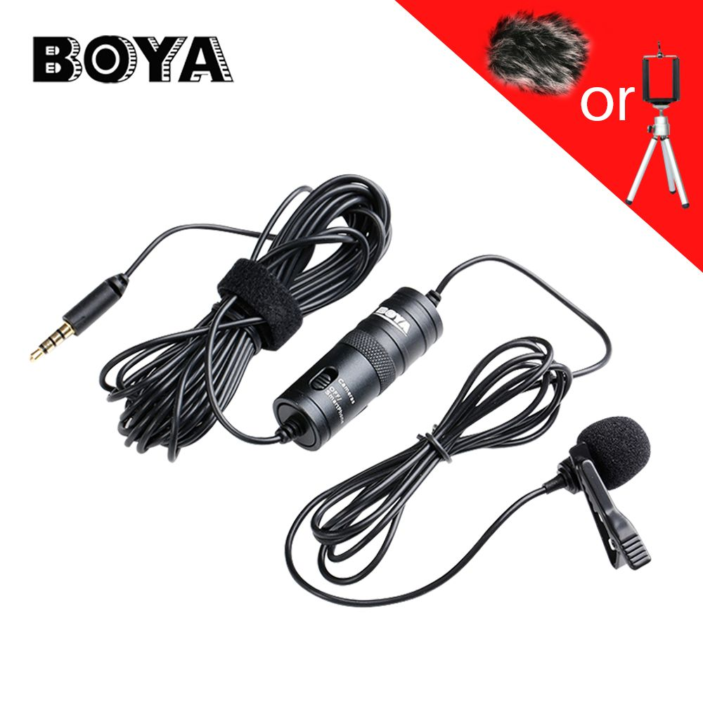 BOYA BY-M1 Lavalier Omnidirectional Condenser Microphone Audio Recorder for iPhone Smartphone Canon Nikon DSLR Camcorder