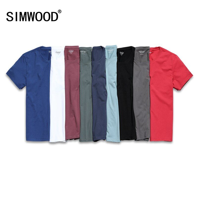 SIMWOOD 2018 New T Shirt Men Slim Fit Solid Color fitness Casual Tops 100% Cotton Comfortable High <font><b>Quality</b></font> Plus Size TD017101