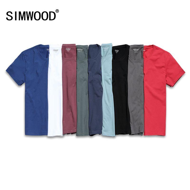 SIMWOOD 2019 Nouveau T Shirt Hommes Slim Fit Solide Couleur fitness Casual Tops 100% Coton Confortable de Haute Qualité, Plus La Taille TD017101