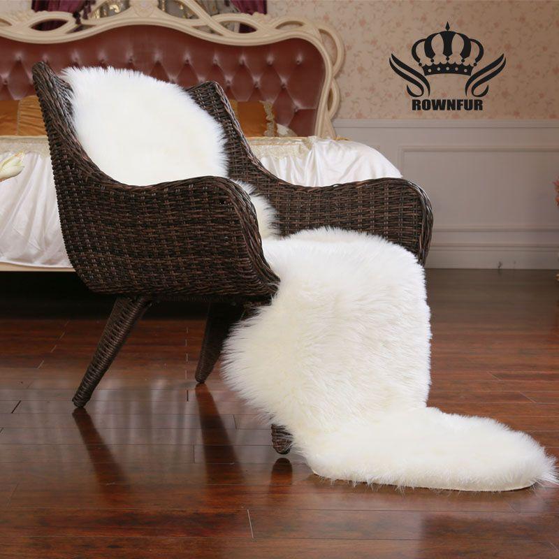 ROWNFUR peau de mouton fausse fourrure tapis tapis pour maison chambre enfants salon chaise chaude de haute qualité antidérapant blanc gris tapis en peluche
