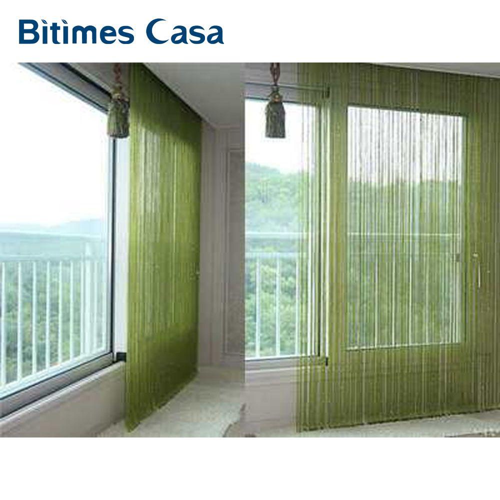 Solide couleur décoratif cordes rideau 300*300 cm noir blanc beige classique ligne rideau fenêtre aveugle vanlance paravent