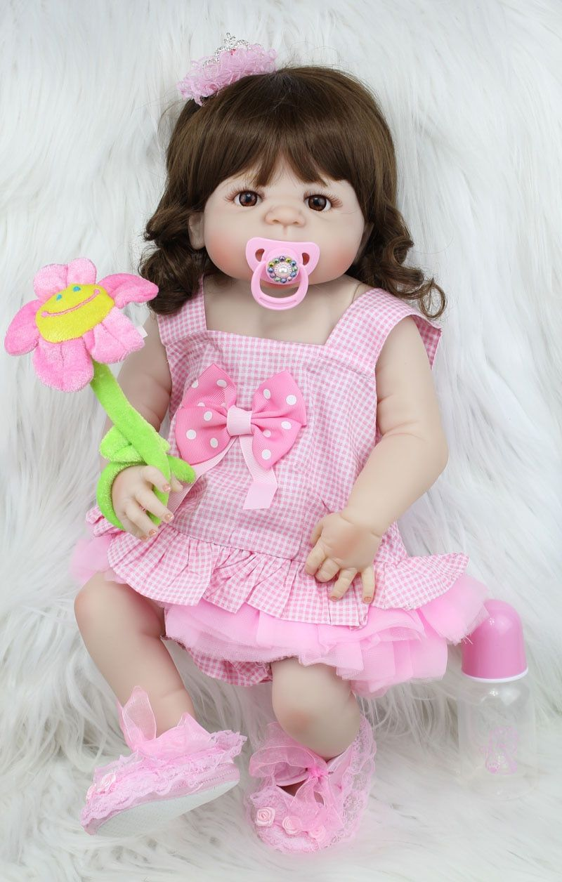 55cm Full <font><b>Body</b></font> Silicone Reborn Sweet Girl Baby Doll Toys Newborn Princess Toddler Babies Doll Birthday Gift Present Child Bathe