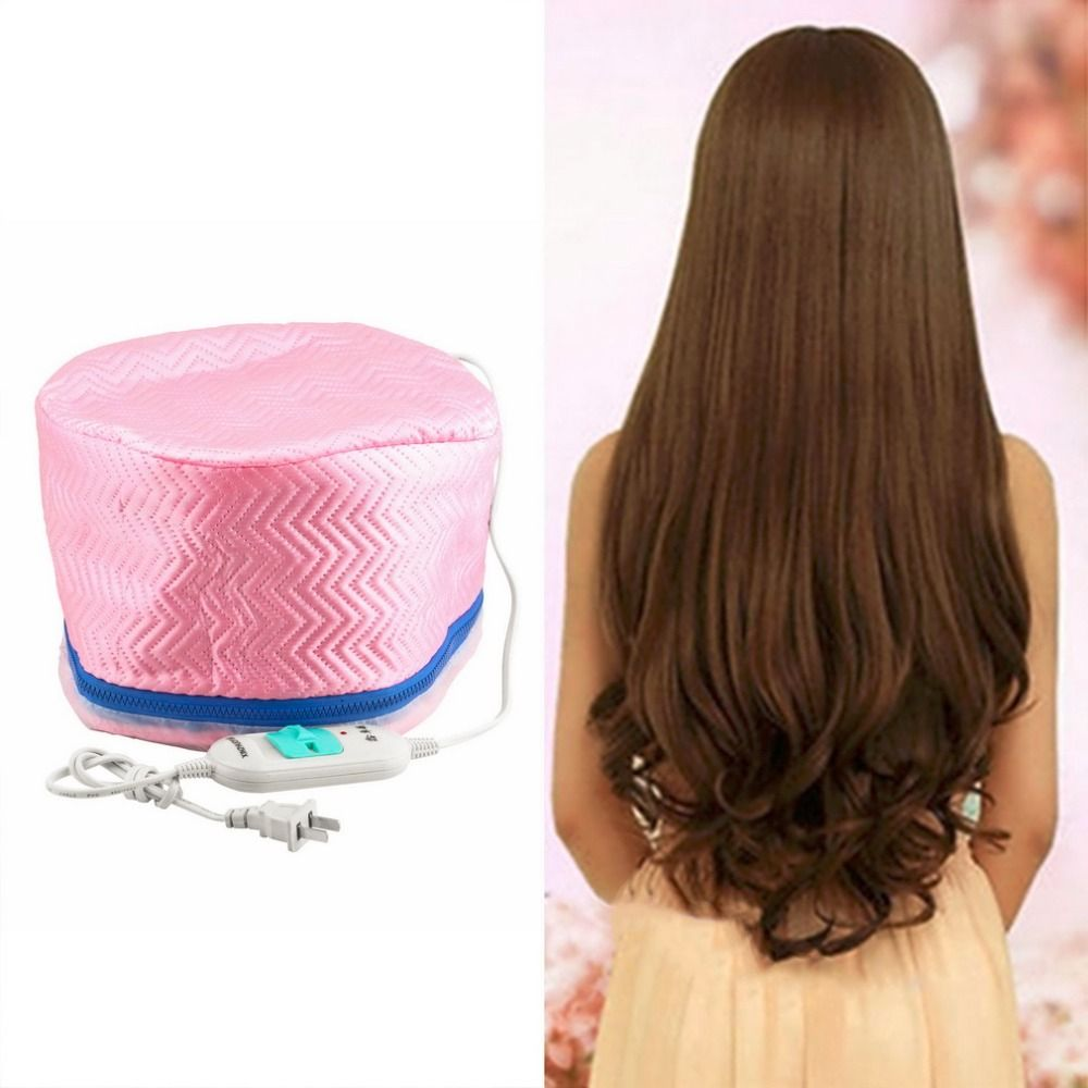 Electric Hair Thermal Treatment Beauty Steamer SPA Nourishing Hair Care Cap Styling Tools Anti-electricity Control Heating Pink