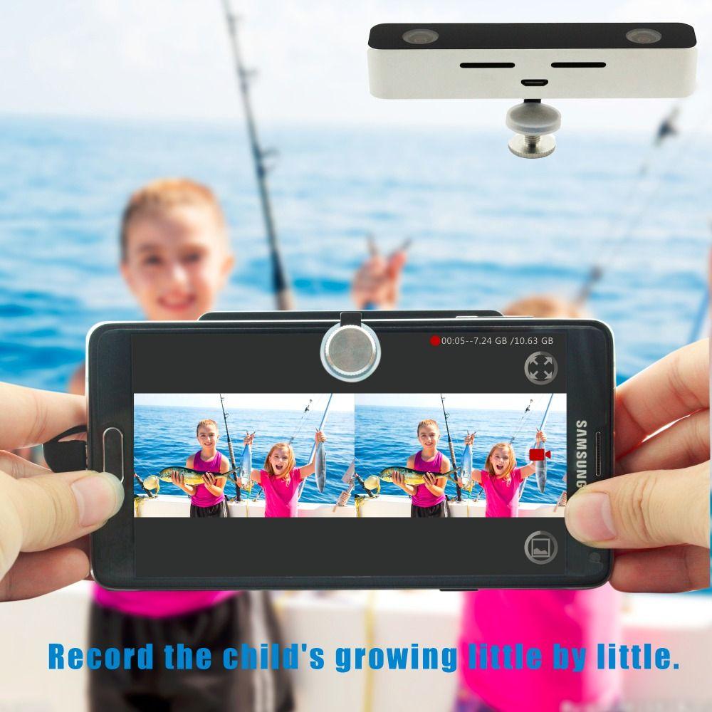 SVPRO 3D Caméra Vidéo Double Objectif Grand Angle de Vision VR 3D Mini Appareil Photo Numérique pour Android Téléphone portable