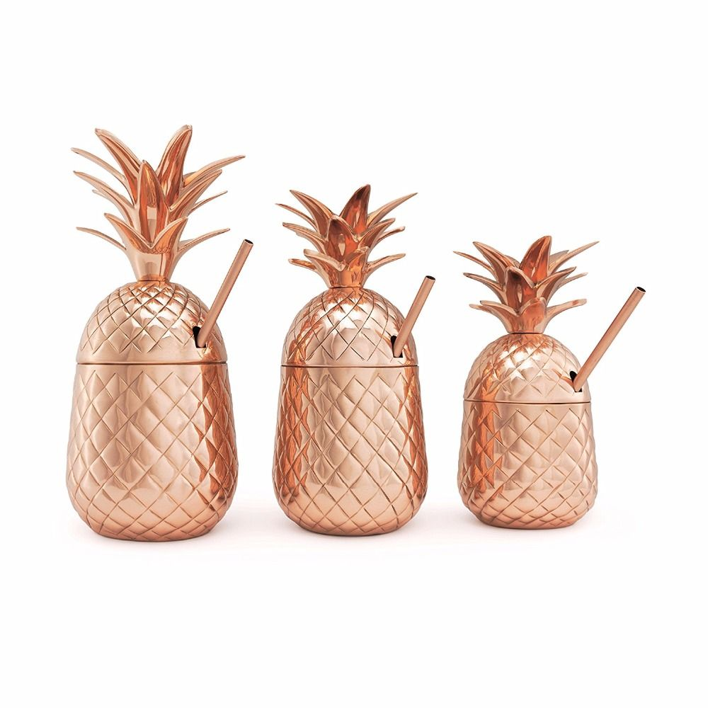 Pineapple Cocktail Tumbler Stainless Steel Mug Beer Whiskey Cup Cocktail Drinking Cups Mugs Drinkware Moscow Mule Mug With Lid