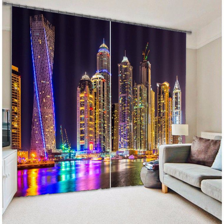Shade Fabric City Light 3D Photo Printing Blackout Curtains For Living room Bedding room Hotel Drapes Cortinas para sala
