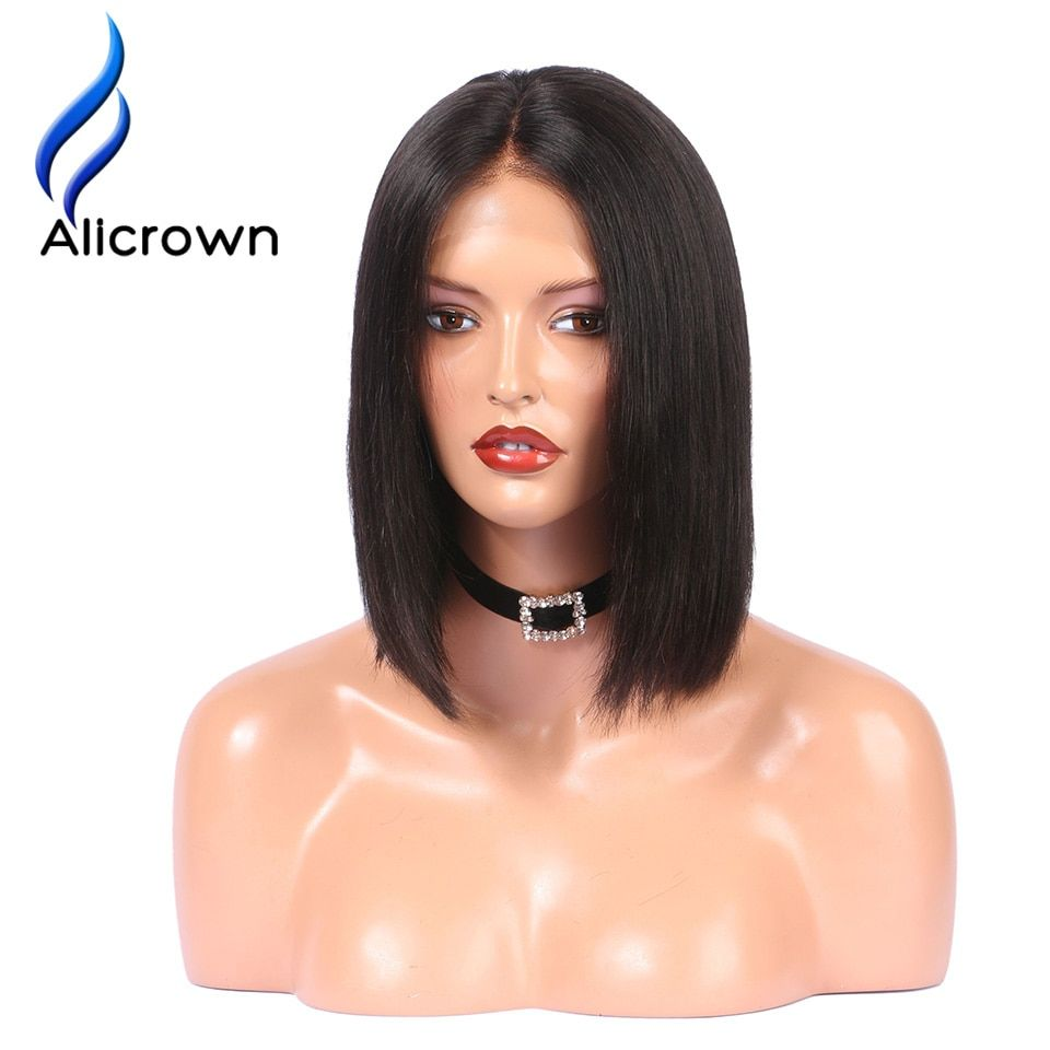 Alicrown Lace Front Human Hair Wigs Pre Plucked Straight <font><b>Full</b></font> End Brazilian Remy Hair Short Bob Wigs Bleached Knots Middle Part