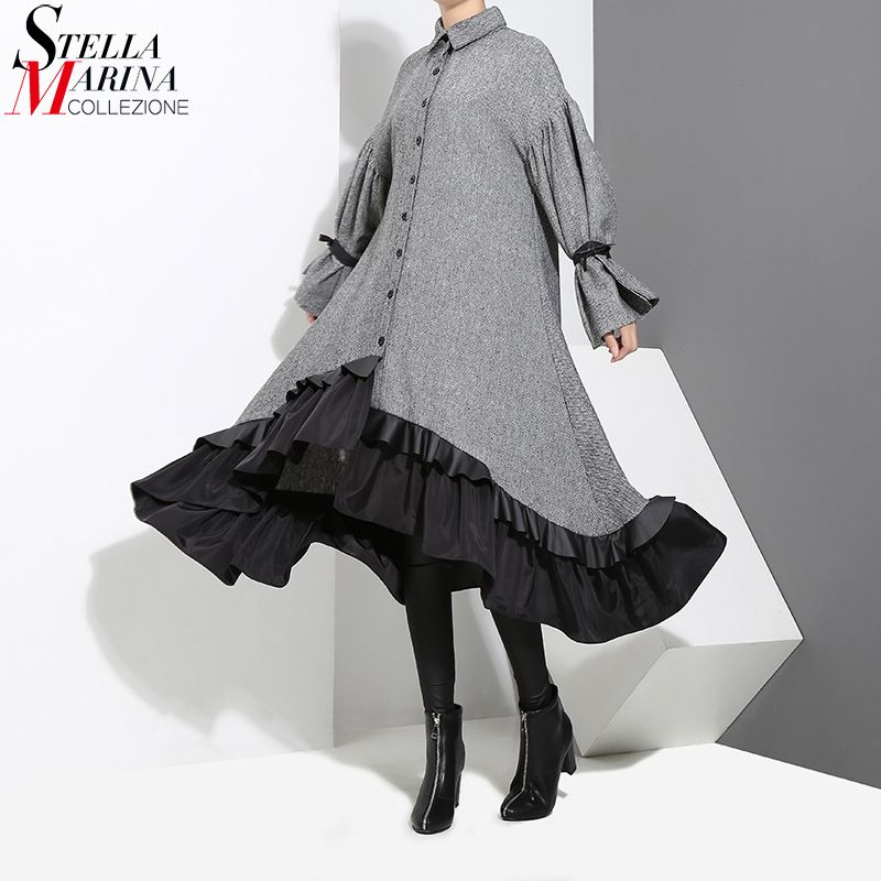 2018 Winter Women Plus Size Gray Shirt Dress Long Sleeve Patchwork Bottom With Sloping Ruffle Cute Wear Party Dress Vestido 3073