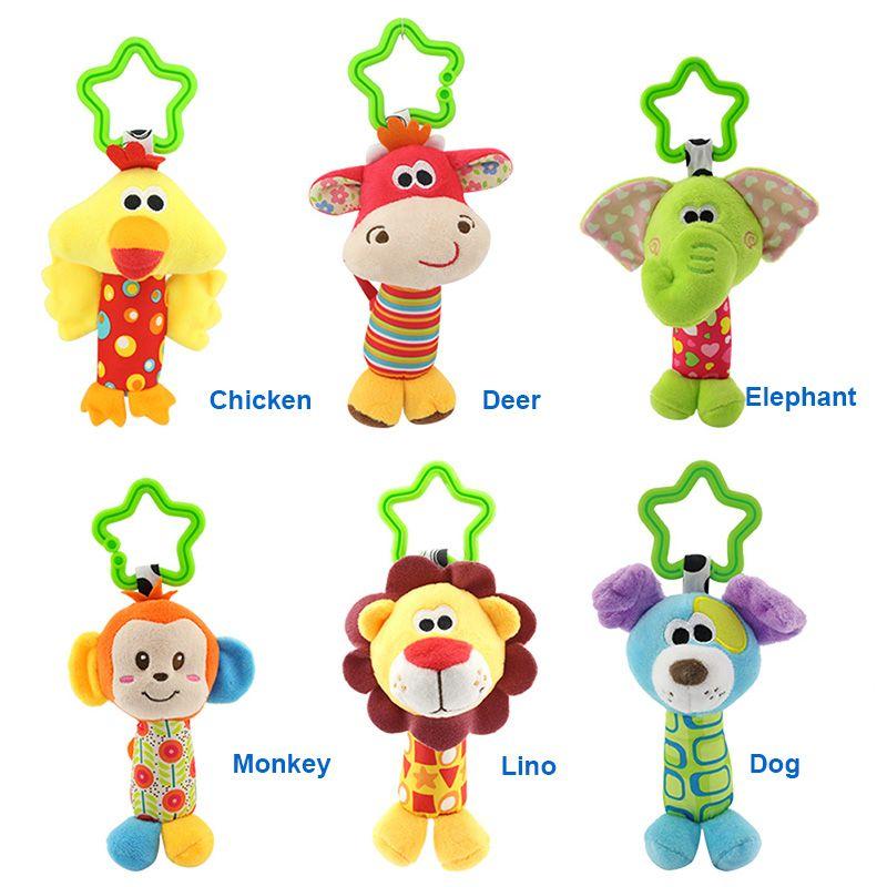 6 Styles Baby Toys Rattles Pacify Doll Plush Baby Rattles Toys Animal Hand Bells Newbron Animal elephant/monkey/lion/deer/dog