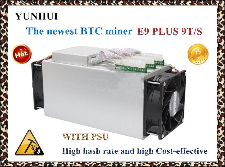 Newest 14nm Asic Miner BTC Miner USED Ebit E9 Plus 9T (with psu) low price than S9 good economy miner .