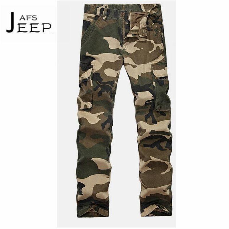 Ji pu caqui oscuro Ejército Azul estilo 100% algodón pantalones de carga, camuflaje 2017 otoño nuevo diseño original militar marca Pantalones