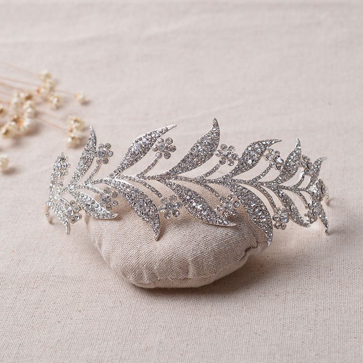 Baroque Bridal Branches Crystal Rhinestone Flower Tiara Hairdress Wedding Hairband Pageant Prom Crown Hair Jewelry Accessories
