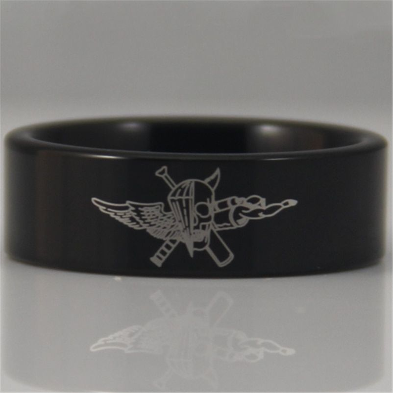 Free Shipping USA UK Canada Russia Brazil Hot Sales 8MM Black Pipe Marine Force Recon Military Design Tungsten Comfort Fit Ring
