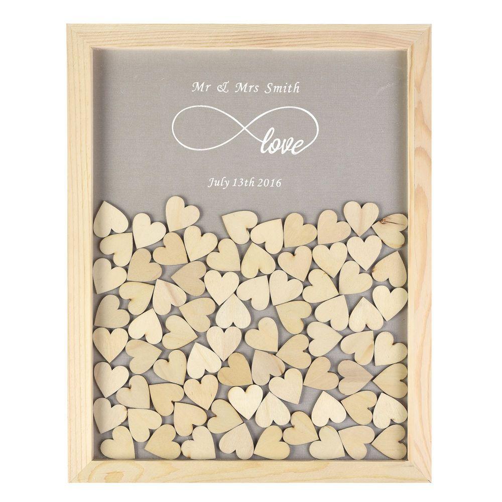 Personnalisé en bois Drop Top cadre mariage livre d'or amour Forever rustique Alternative Unique 60 ou 130 pièces coeurs décor