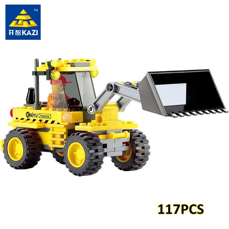 KAZI 8042 DIY Enfants Jouet Bulldozer Pelle Modèle Playmobil Blocs de Construction Brique Compatible avec lego