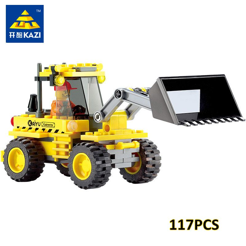 KAZI 8042 DIY Enfants Jouet Bulldozer Pelle Modèle Playmobil Blocs de Construction Brique Compatible withlego