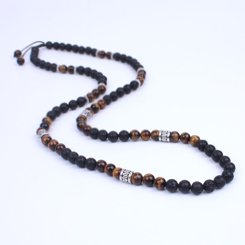 Для мужчин Цепочки и ожерелья Лава камень оникс и энергии Бусины Шамбалы Цепочки и ожерелья камень бисера с древних серебристого металла ст...