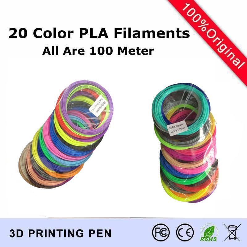 20 цветов комплект (каждый Цвет 5 м) 3D-принтеры ручка нити PLA 1.75 мм Пластик резиновая расходных материалов Материал 3D Ручка нитей