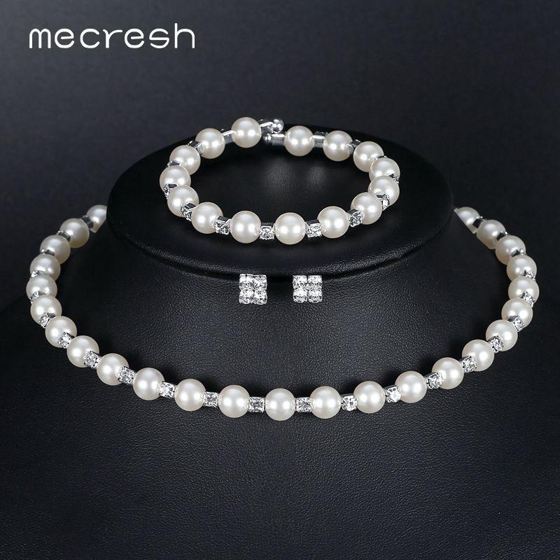 Mecresh Simulado Joyería de Perlas Nupcial Conjuntos de Cristal Gargantilla Collar Pendientes Pulsera Joyería de la Boda conjuntos para las mujeres Nueva M3TL081