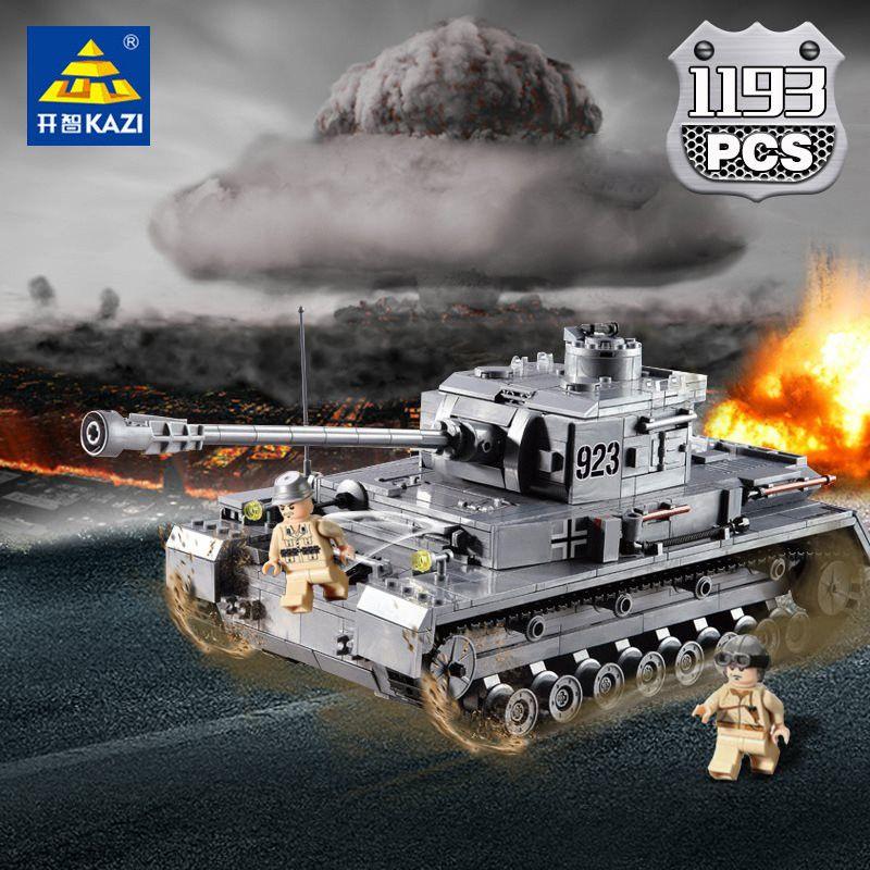 KAZI 1193pcs Large Panzer IV Tank Building Blocks DIY Bricks Set Compatible LegoINGs WW2 Military Educational Toys For Children