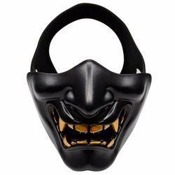 Half Face Airsoft Masker Halloween Costume Cosplay BB Jahat Setan Rakasa Kabuki Samurai Oni Setengah Penutup Hannya Masker Prajna