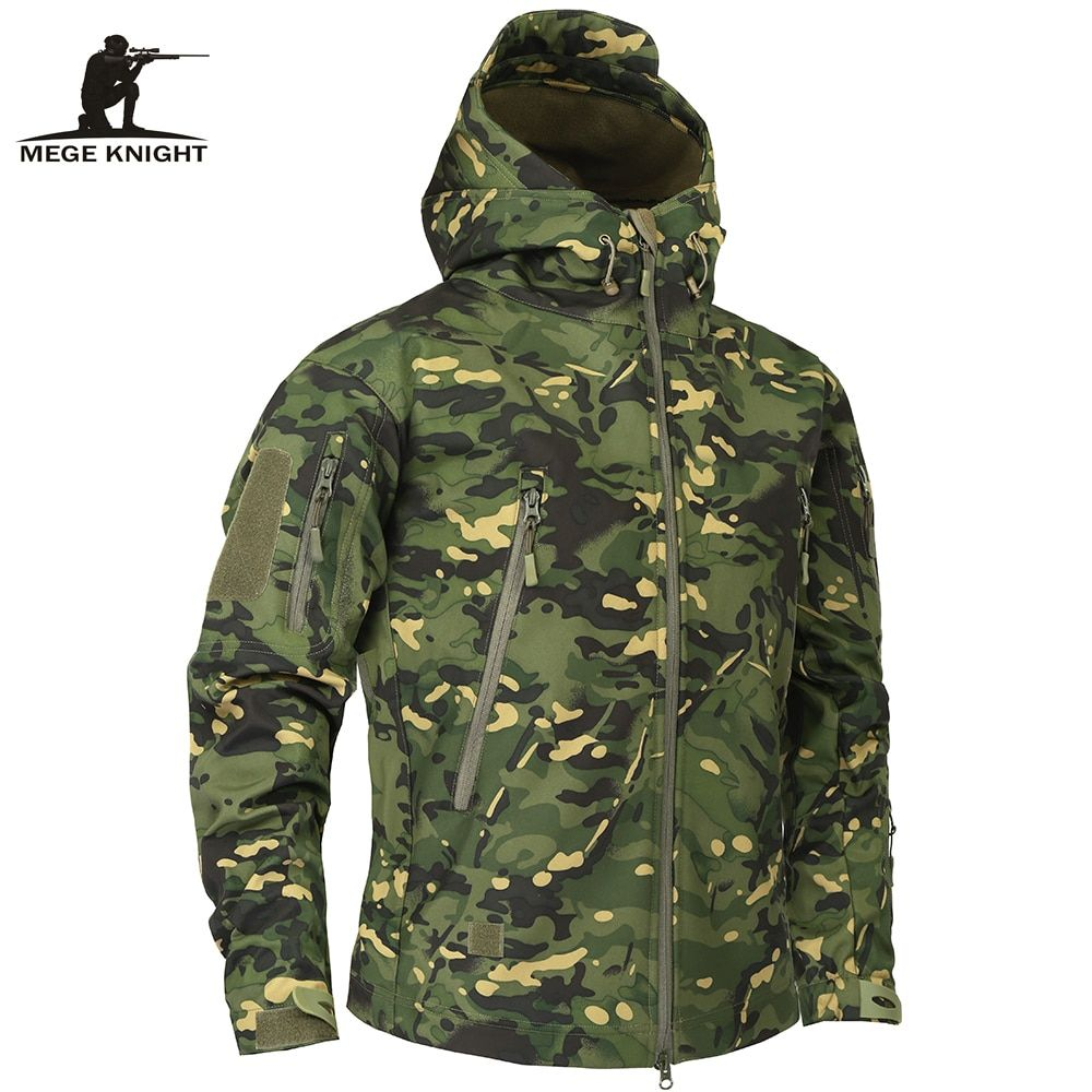 Mege Brand Clothing Autumn Men's Military Camouflage Fleece Jacket <font><b>Army</b></font> Tactical Clothing Multicam Male Camouflage Windbreakers