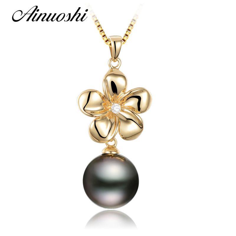 AINUOSHI Luxus 925 Sterling Silber Gelb Gold Farbe Blume Geformt Frauen Anhänger Schwarz Natürliche Perle Tahiti Anhänger Schmuck