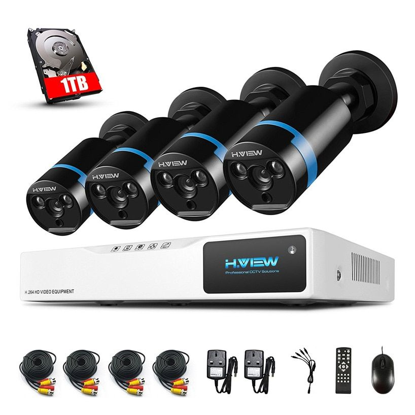 H.VIEW 1080P Video Surveillance System 4CH AHD DVR 4PCS CCTV Camera Indoor Security Camera kit With 1TB HDD CCTV SYSTEM