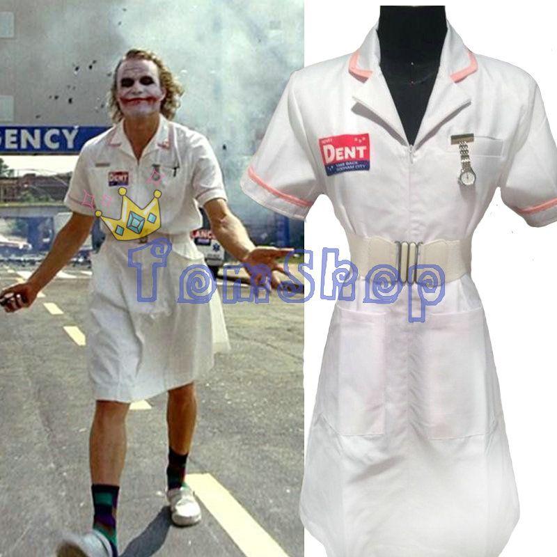 Batman Dark Knight Joker Nurse Dress Uniform Halloween Nurses Outfit Costumes Custom Made