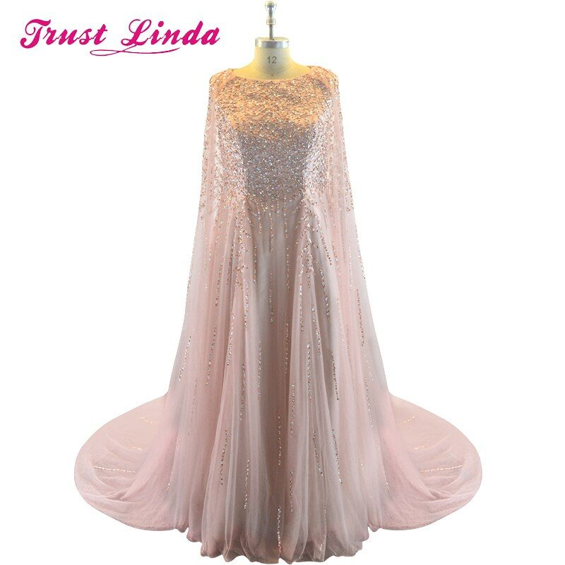 Real Sample New Collection Muslim Mother Of The Bride Dresses Sleeveless Handmade Crystal cape Prom Gowns Long Party Dresses