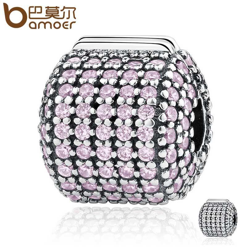 BAMOER Genuine 925 Sterling Silver Stopper Pave Barrel, Clear CZ Clip Charms fit Bracelets Women DIY Fashion Jewelry PSC084