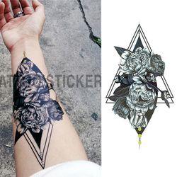 1 шт./компл. маленькая полная Цветочная рука Временная водостойкая татуировка наклейки лиса Сова для женщин мужской боди-арт