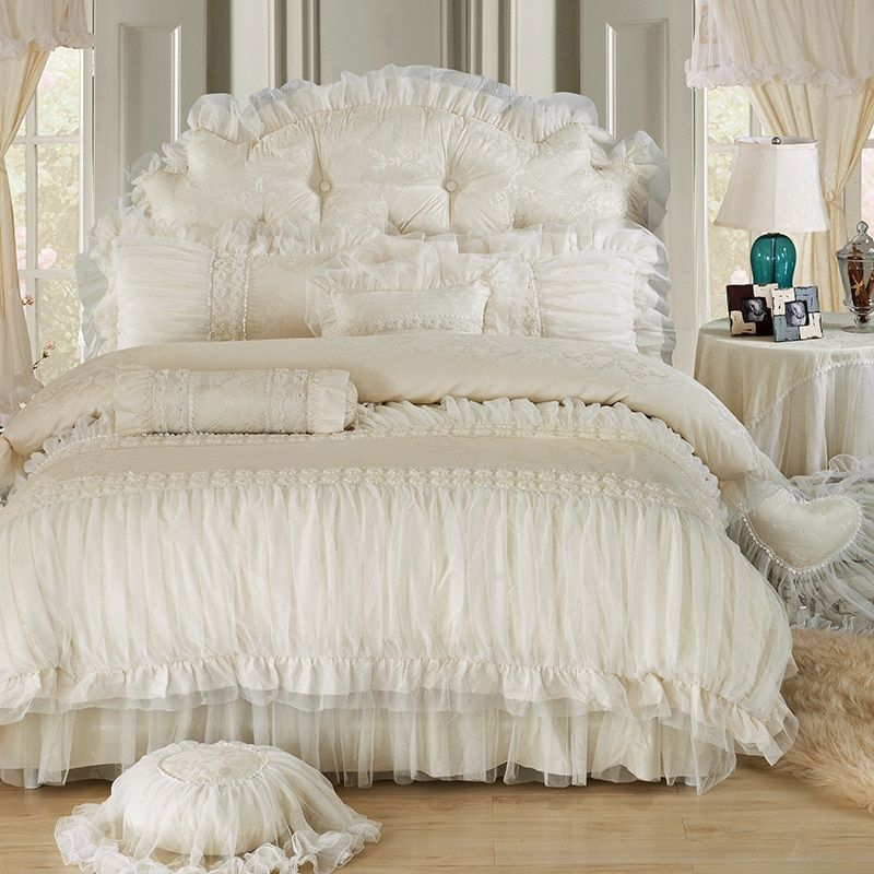 Beige Lace Princess Quilt/duvet cover king queen 4/6pcs 100% cotton Ruffles bedspread bed skirts bedclothes bedding sets wedding