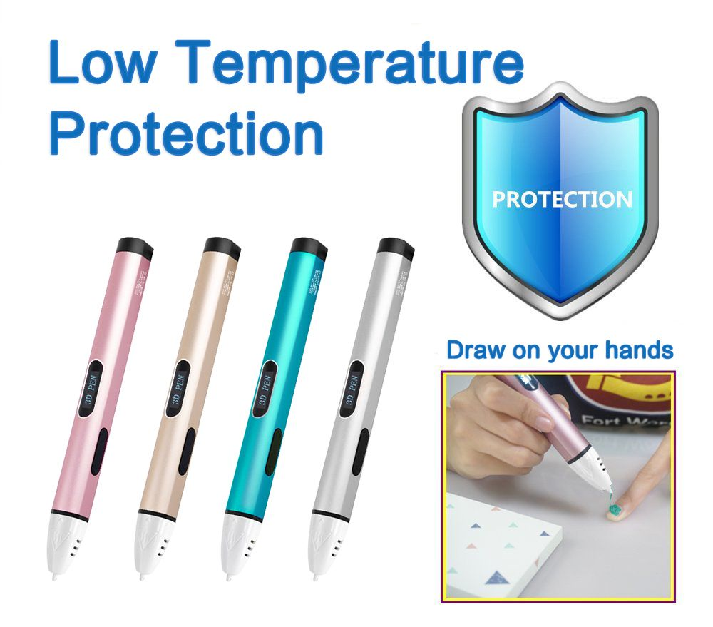3D Printer Pen Dewang Newest X4 3D Printing Pen Free PCL Filament Low Temperature Protection 3D Graffiti Pen USB 3D Pens