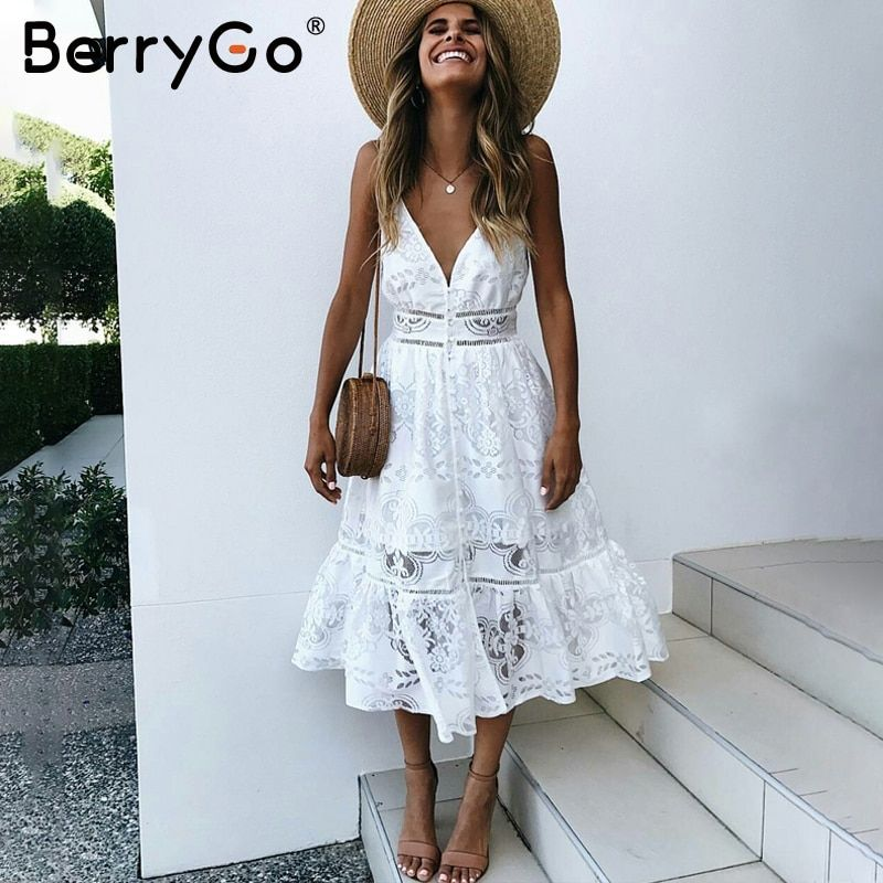 BerryGo v neck sexy lace summer dress women Strap button casual white dress female Streetwear backless midi dress vestidos 2018