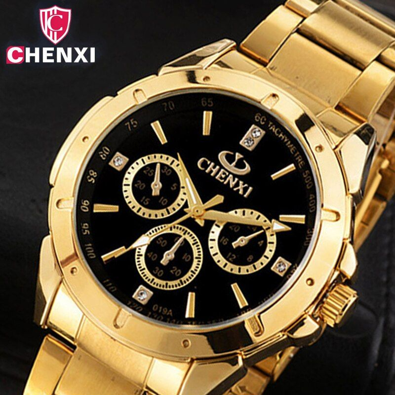 CHENXI Luxury <font><b>Gold</b></font> Men's Watches Unique Business Dress Wristwatch for Man Woman Lover's Clock Golden Waterproof Male Female 019A