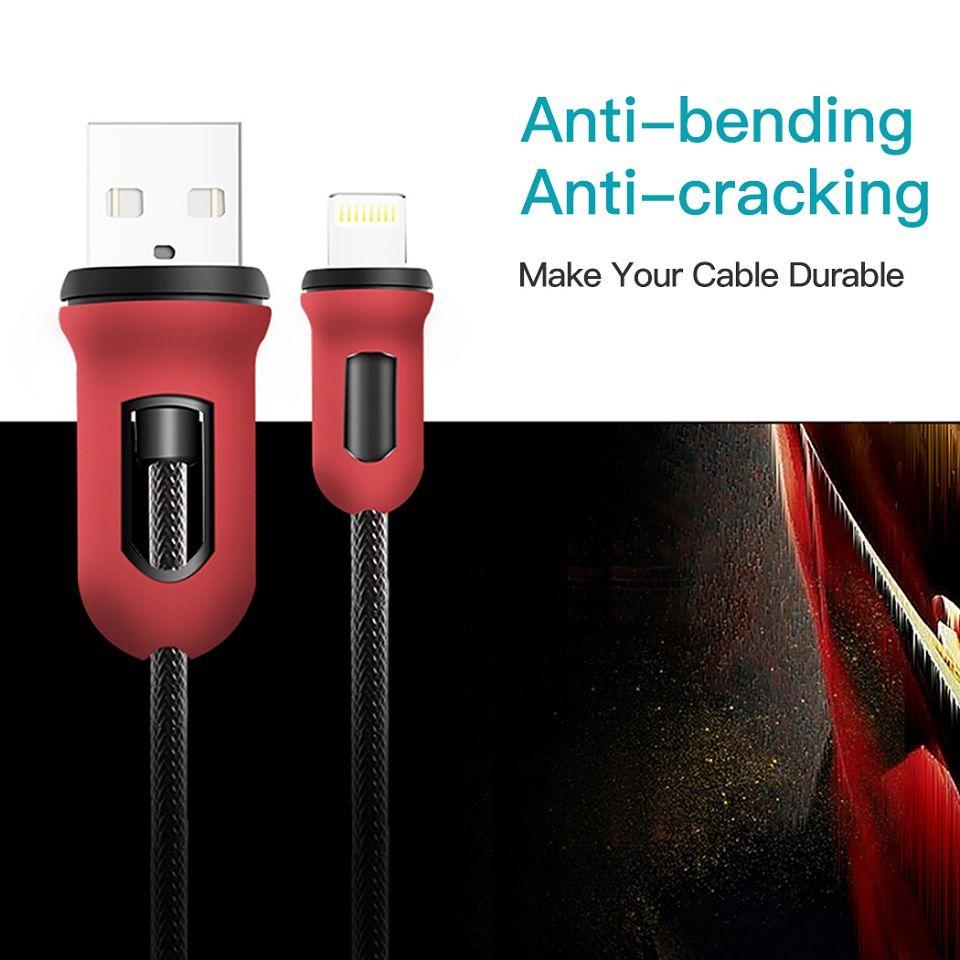 Snowkids Câble pour iPhone X 8 7 6 5 XR XsMax iPad Rouge et Noir Armure Conception